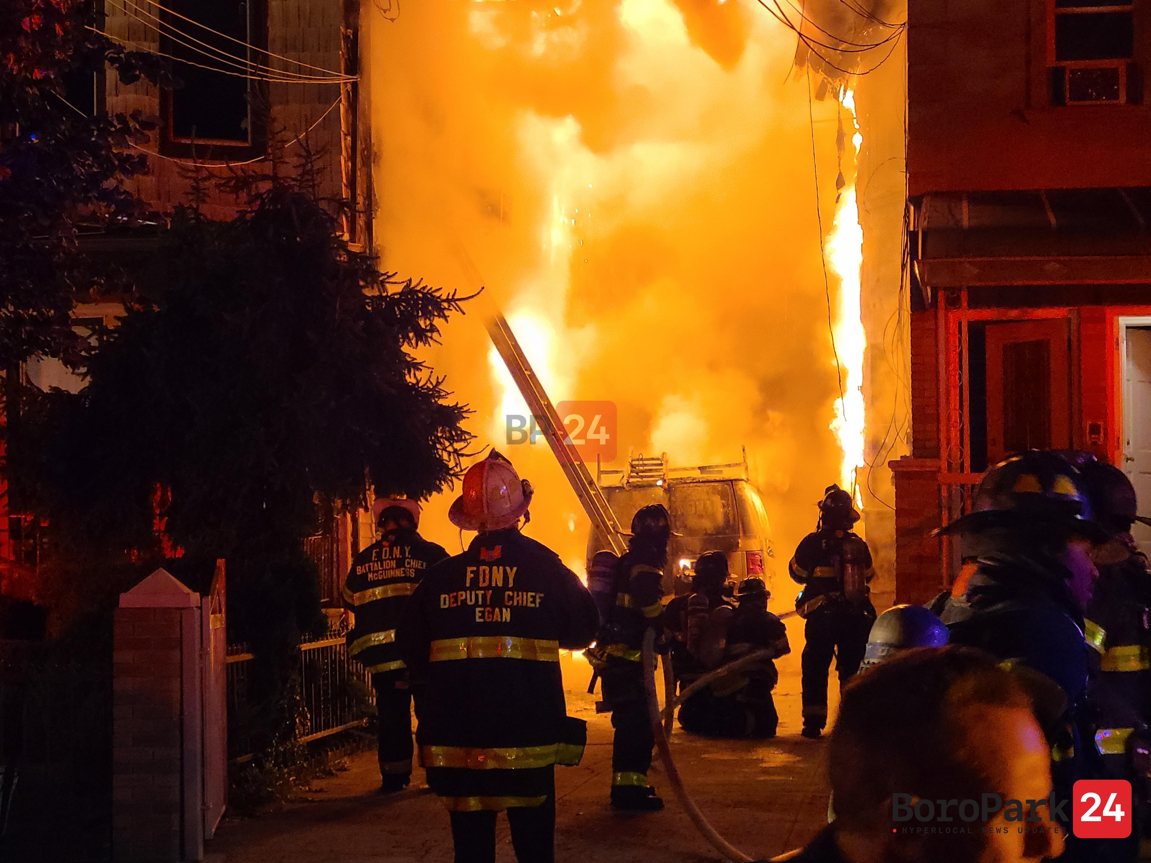 Five-Alarm Fire Rages in Bensonhurst