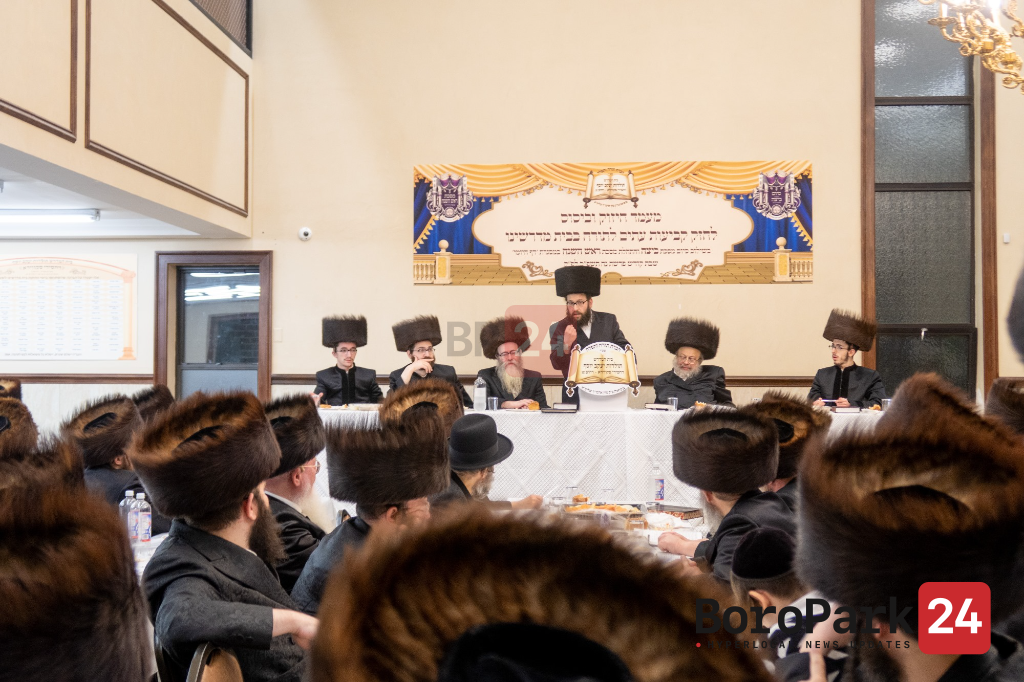 Siyum Mesechtes Beitza in Skver Shul on 12th Ave in Boro Park