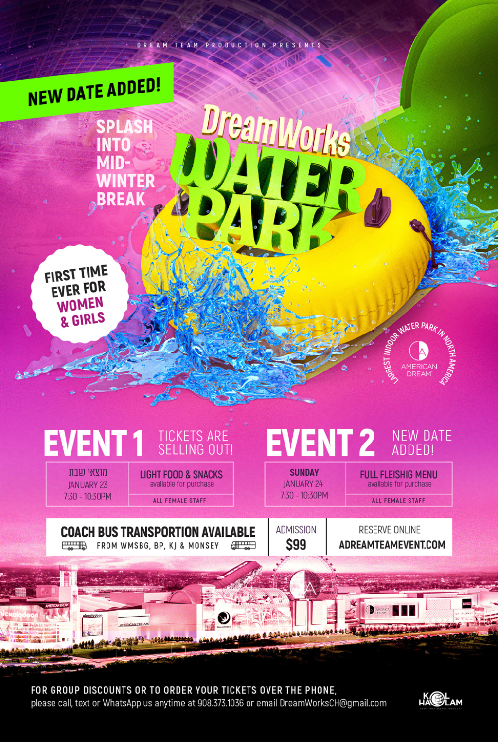 HURRY! Motzei Shabbos Event Nearly Sold Out at DreamWorks Water Park for Women & Girls!