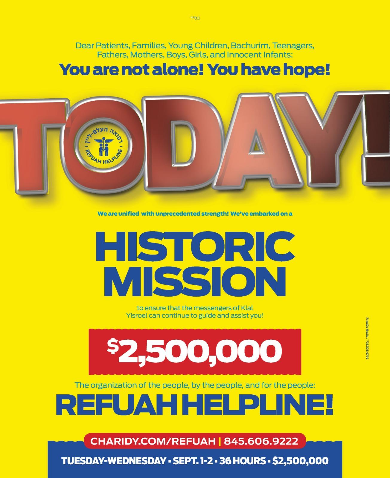 Massive grassroots effort to raise $2.5 million on behalf of Refuah Helpline culminates tonight