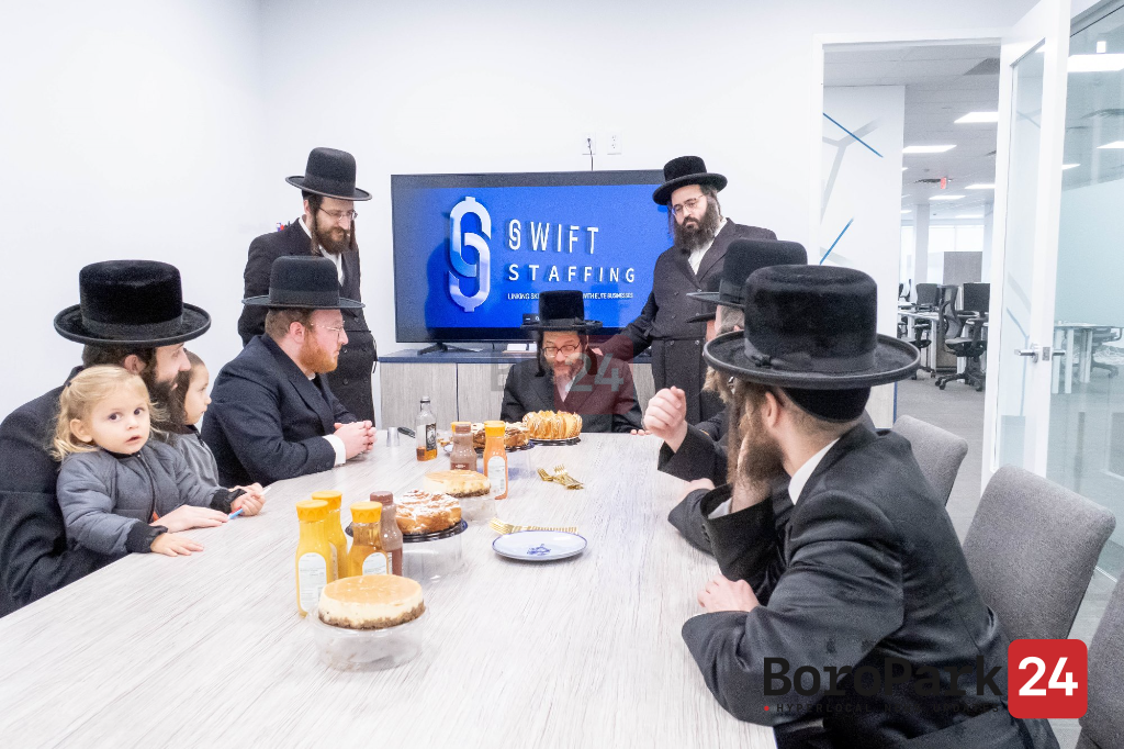 Kevias Mezuzah in the new office of Swift Staffing in Independence Plaza in Lakewood