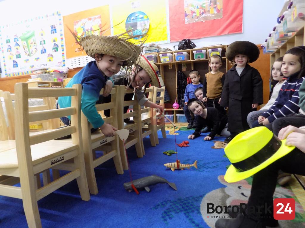 Children at the Minkatcher Cheider in Boro Park, playing the story of Yoseph Mokir Shabbos