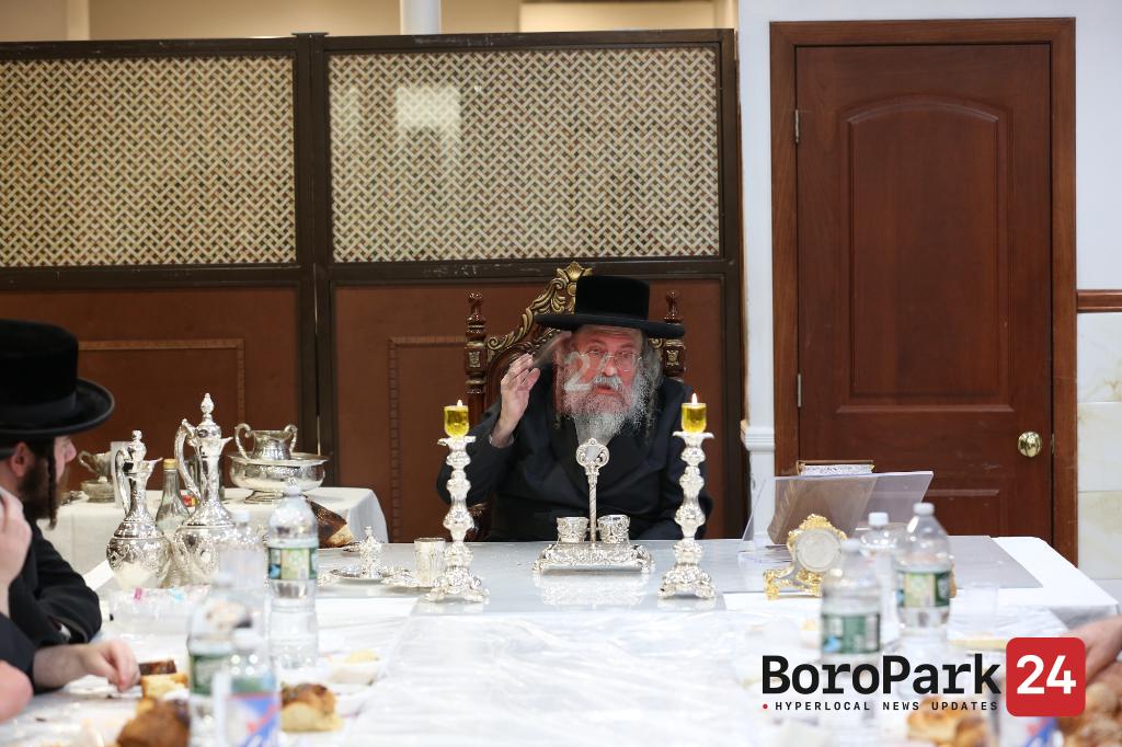 "Lelov Rebbe at the Yurtzeit Tish of his Father the Lelov Rebbe Zt""l"