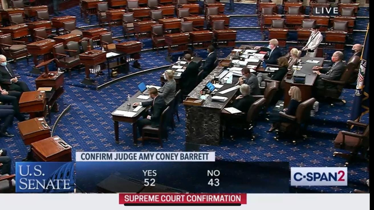 Amy Coney Barrett Confirmed as U.S. Supreme Court Justice in 52-48 Vote Today