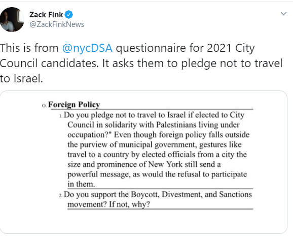 NYC DSA called out for Anti-Semitic City Council Requirements, Asking Candidates to Boycott Israel